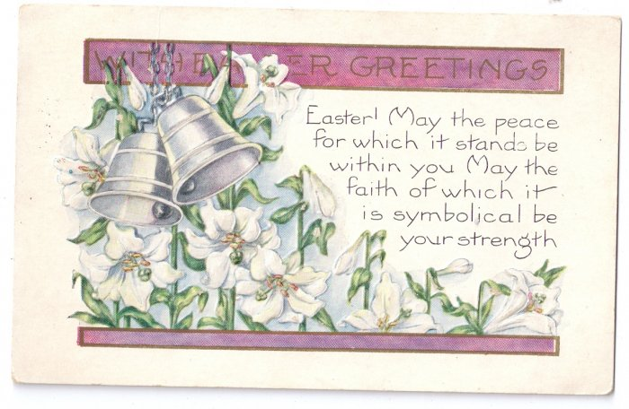 Whitney Lilies Bells Embossed Vintage Easter Postcard 1925