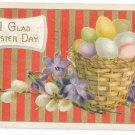 Basket of Eggs Gilt Embossed Vintage Easter Postcard 1920