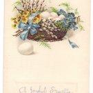 Basket of eggs and Flowers Embossed Vintage Easter Postcard