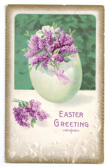 Lilacs in Egg Embossed Vintage Easter Postcard