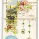 Sailboat Shamrocks Egg Embossed Vintage Easter Postcard