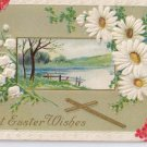 Cross Daisies Embossed Vintage Easter Postcard