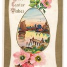 Sailboat Fishing Dock Vintage Easter Postcard 1909