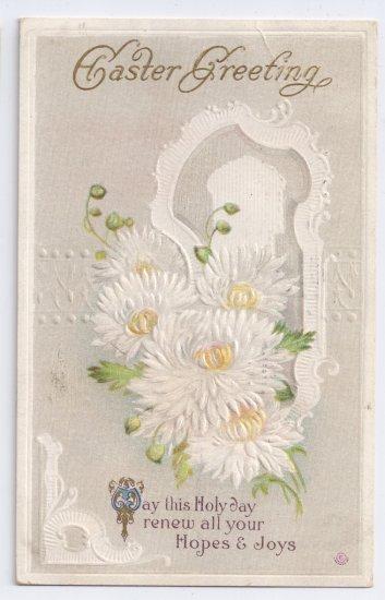 Chrysanthemums Embossed Vintage Easter Postcard 1913