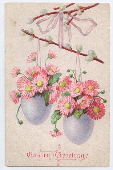 Spring Flowers in Eggs Embossed Vintage Easter Postcard