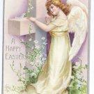 Angel Cross Embossed silver Gilt Vintage Easter Postcard