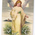 Angel Embossed Vintage Easter Postcard IAP