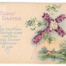 Floral Cross Arts & Crafts Vintage Easter Postcard