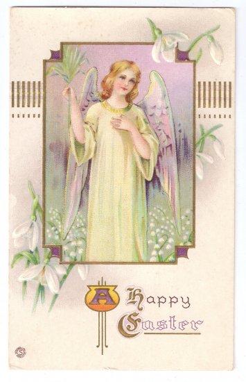 Angel Embossed Vintage Easter Postcard Stecher