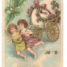 Angels Cherubs Egg Cart Embossed Vintage Easter Postcard 1907
