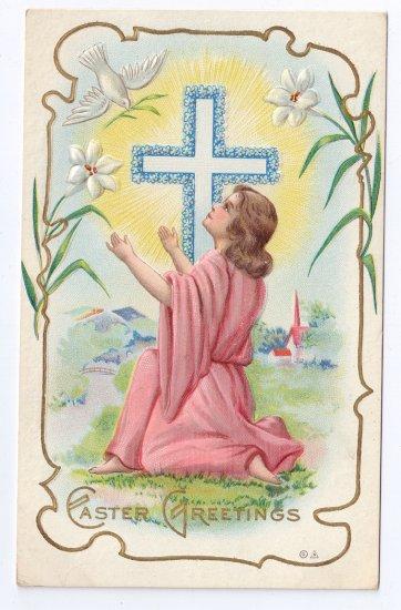 Dove Cross gilt Embossed Vintage Easter Postcard Nash
