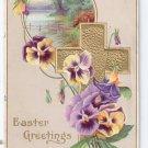Gold Cross Pansies flowers Embossed Vintage Easter Postcard