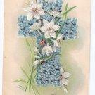 Flower Cross Embossed Vintage Easter Postcard Robbins 1907