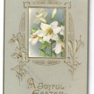 Lilies Arts & Crafts Embossed Gilt Vintage Easter Postcard