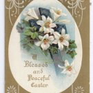 Lilies Cross Embossed Gold Vintage Easter Postcard
