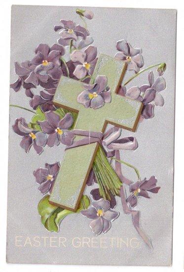 Cross Violets Embossed Silver Gilt Vintage Easter Postcard IAP