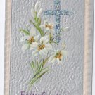 Cross Lilies Embossed Silver Gilt Vintage Easter Postcard
