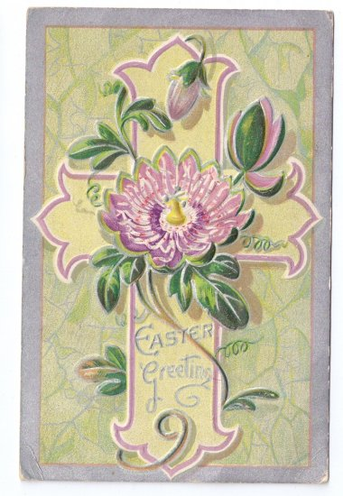 Lotus Cross Embossed Silver Gilt Vintage Easter Postcard