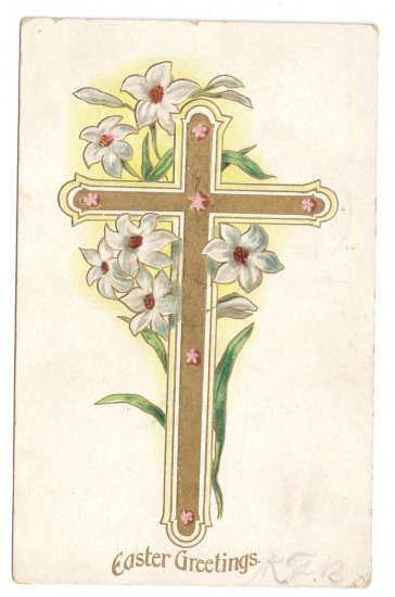 Gold Cross Lilies Embossed Vintage Easter Postcard