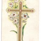 Gold Cross Lilies Embossed Vintage Easter Postcard