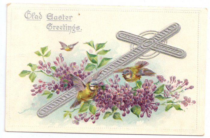 Silver Cross Flowers Embossed Tuck Vintage Easter Postcard