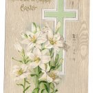 Cross Flowers Lilies Embossed Vintage Easter Postcard