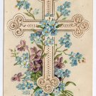 Violets Cross Flowers Embossed Vintage Easter Postcard