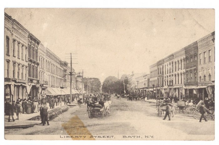 Bath NY Liberty Street Litho 1910 RPO Horse and Carriage