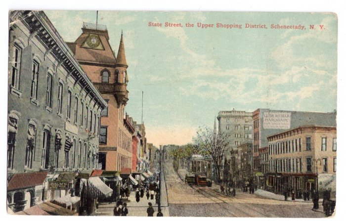 Schenectady NY State Street Upper Shopping District 1913