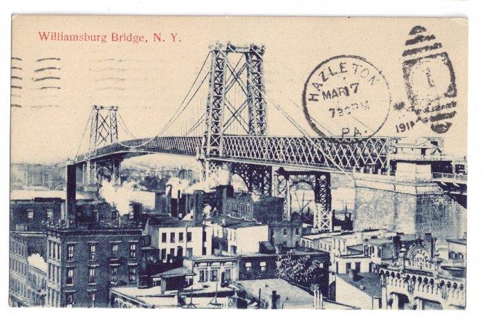 Williamsburg Bridge NY 1911 Vintage Postcard