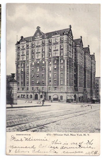 Whittier Hall NY Columbia University Barnard 1907 UND