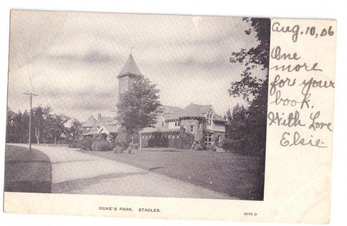 Duke's Park Coach Barn Stable Somerville NJ 1906 UND Vintage Postcard