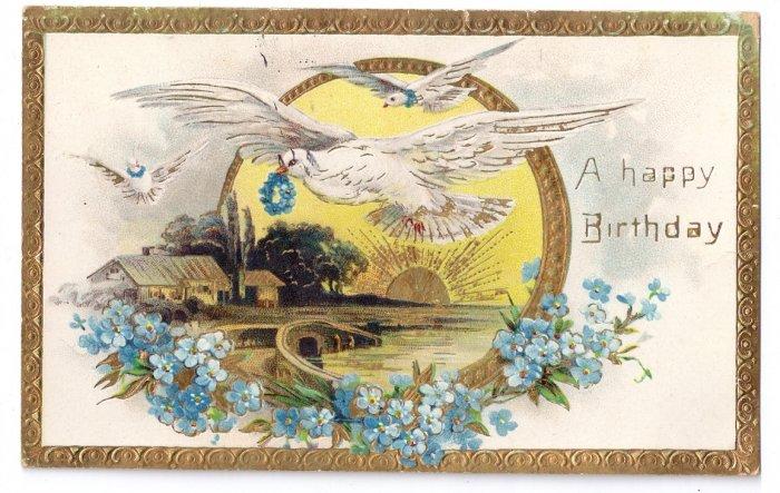 Doves Embossed Gilded Vintage Birthday Postcard Forget Me Nots