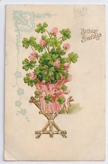 Four Leaf Clover Embossed Gilded 1908 Vintage Birthday Postcard