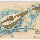 Mandolin Embossed Gilded 1908 Vintage Birthday Postcard Forget Me Nots