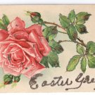 Easter Embossed Tinseled Rose Glitter Vintage Postcard