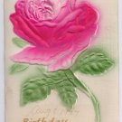 Embossed Airbrushed Rose 1907 Vintage Birthday Postcard