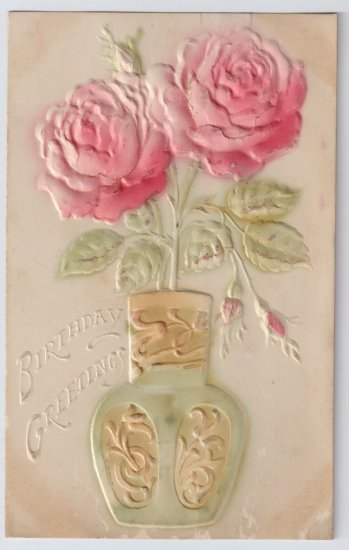Embossed Airbrushed Roses Vintage Birthday Postcard