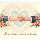 Clasped Hands Roses Glossy 1915 Vintage Birthday Postcard