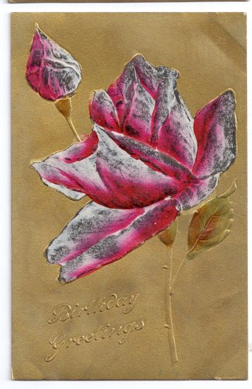 Embosssed Gold HP Rose Vintage Birthday Postcard