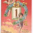 Cherubs Four leaf Clovers Forget me nots 1906 Vintage New Year Postcard