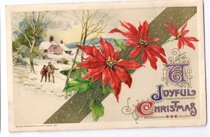 Winsch Poinsettias 1911 Vintage Christmas Postcard