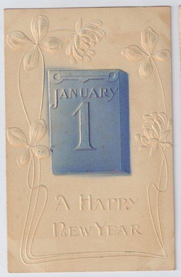 Embossed Airbrushed Jan 1 Vintage New Years Postcard