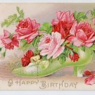 Embossed Roses in Shoe 1909 Vintage Birthday Postcard