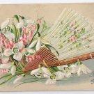 Embossed Snowdrops Fan Vintage Birthday Postcard ASB Germany