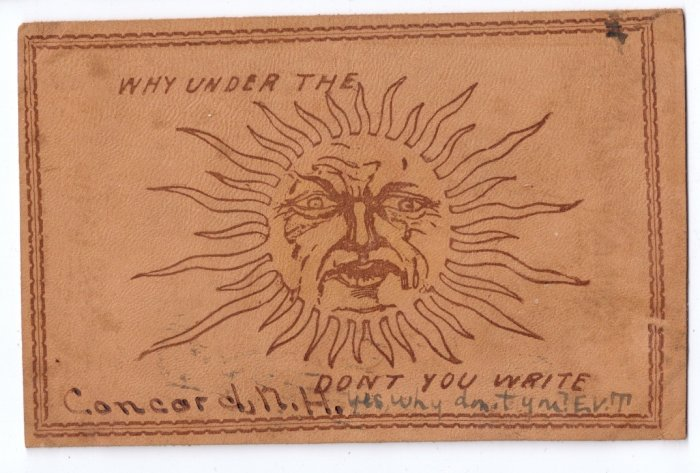 Vintage Leather Postcard 1906 Concord NH Sun
