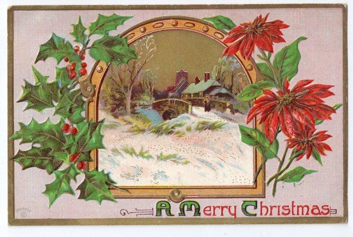Embossed 1910 Vintage Christmas Postcard Poinsettias Country Scene