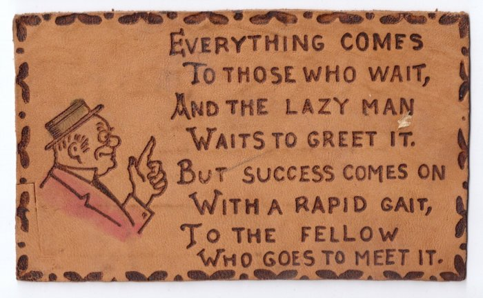 Vintage Leather Postcard Success Poem ca 1910