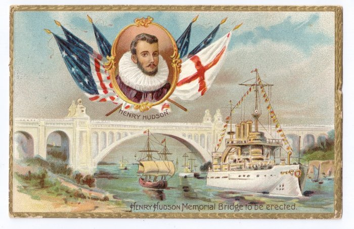 Tuck Hudson Fulton Celebration Memorial Bridge 1909 Embossed Patriotic Postcard