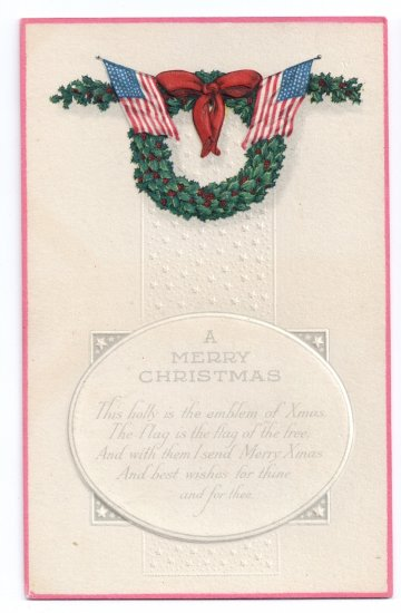 Patriotic Christmas Flag Holly Wreath Arts and Crafts Poem Postcard